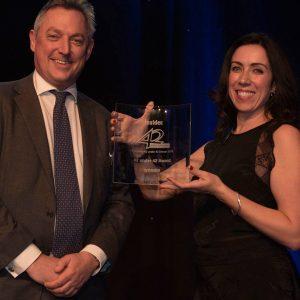 Leanne winning her 2018 '42 Under 42' Award